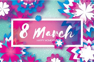 White Purple Paper Cut Flower. 8 March. Origami Women's Day. Rectangle Frame. Space for text