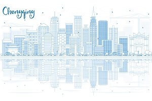 Outline Chongqing Skyline