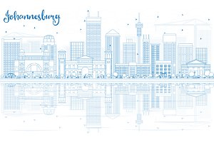 Outline Johannesburg Skyline