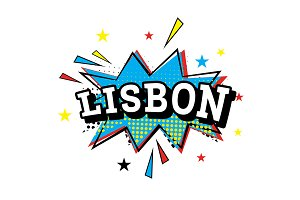Lisbon. Comic Text in Pop Art Style