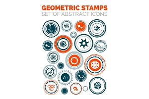 Set of vector abstract geometric stamp icons