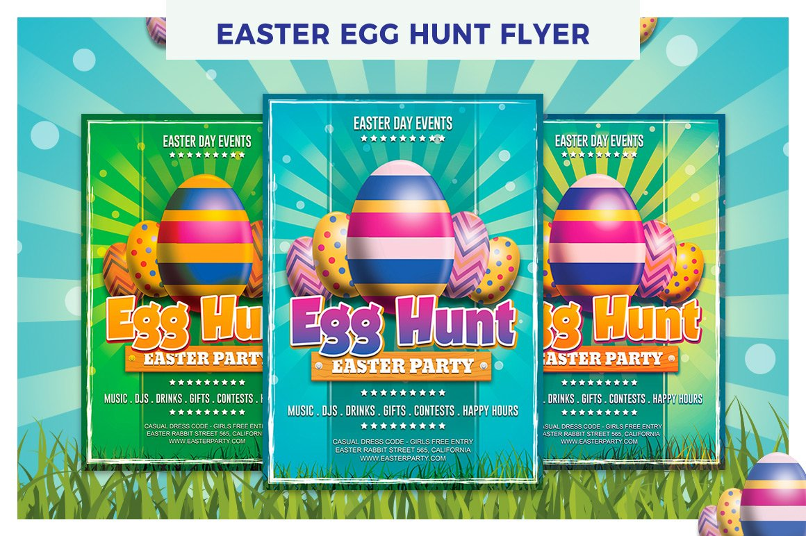 Easter Day Egg Hunt Flyer Template Flyer Templates on Creative – Easter Flyer Template