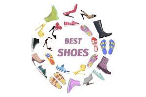 Set of Best Shoes for Man and Woman Flat Design