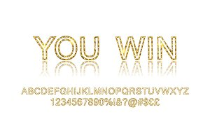 Gold alphabetic fonts vector set.