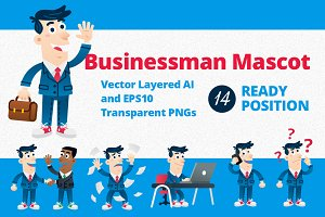 Business Man Mascot - 14 poses