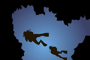 Silhouettes of diving