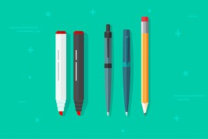 Pens Pencils and Markers Vector