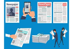 Newspapers Headlines Flat Vector Concepts Set