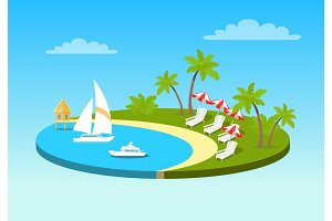 Tropical Beach On Sunny Ocean Shore Circle Concept