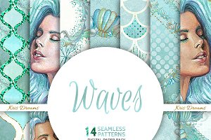 Waves Seamless Digital Paper