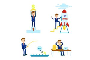 Prosperous Cartoon Businessman Illustrations Set