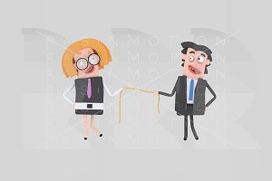 Business couple pulling a rope