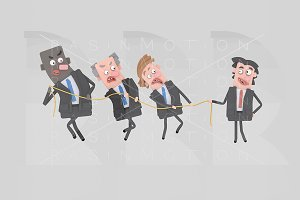 Business people pulling  a rope