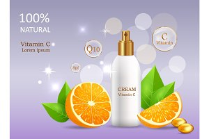 Natural Cream with Vitamin C in Glossy Tube Vector