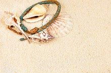 Sea shells and coloured wristbandon on sandy beach