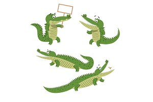 Cartoon Crocodiles Isolated Illustrations Set