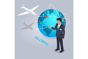 Global Electronic Commerce and Businessman Flat