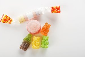 Sweets of various flavors. Isolated. Copy-space.
