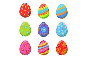 Easter Egg with Colorful Bright Ornamental Design
