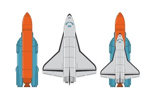 The space shuttle and rocket