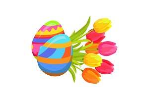 Beautifully Colored Eggs and Festive Tulips Art