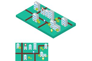 City map with gps. Flat, isometric