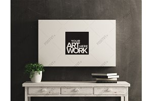 Canvas Mockup White Wood Distressed