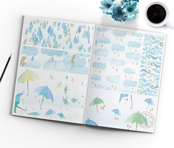 Watercolor Rainy day digital papers