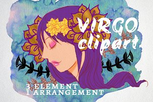 Virgo manga art element clipart
