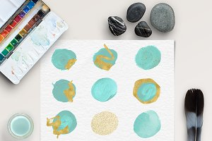 Brush Stroke Clipart - Mint & Gold