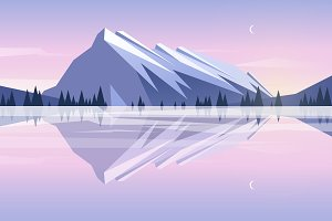 Evening mountains. Flat design