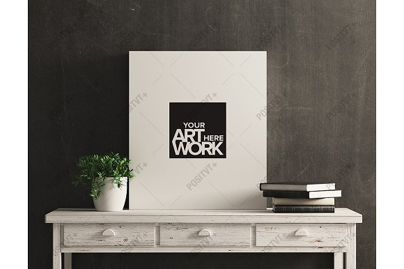 Free Canvas Mockup White Wood Distressed