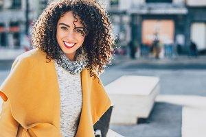 Portrait of curly Brazilian brunette