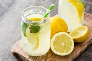 Lemonade drink in a jar glass