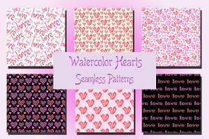 Watercolor Hearts. Seamless Patterns