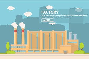 Industrial factory in flat style