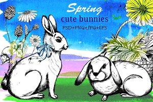 Spring cute bunnies