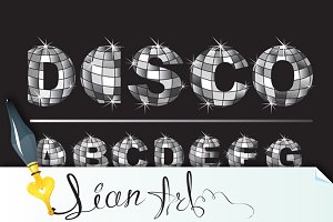 Silver disco ball letters - alphabet