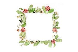 Floral frame with dried roses