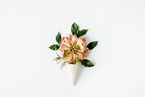 Waffle cone with peony flower