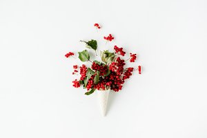 Waffle cone with rowan bouquet