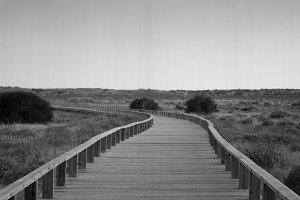 Wooden path in the dunes. Algarve