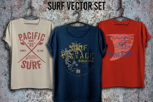 Surf print vector set