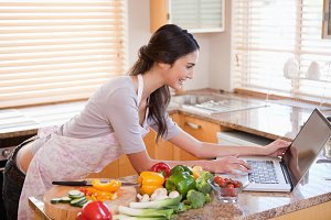 Woman looking for a recipe on the internet