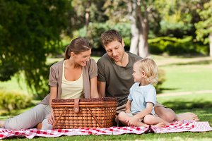 Joyful family picnicking in the park