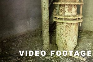 Water tower pipe in the abandoned factory. Smooth and slow dolly shot