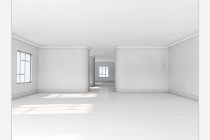 Empty white room with parquet floor