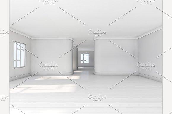 Empty White Room With Parquet Floor