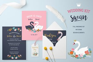Wedding set with Swan lake theme