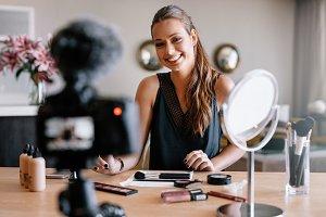 Female blogger recording video